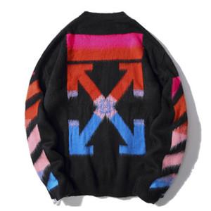 chandails de mode col rond de haute qualité mohair rouge et gradient bleu couple tricot gris foncé occasionnels chandail
