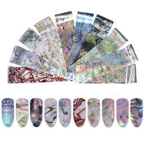 1 Caja Holográfica Starry Sky Nail Foil Seashell Perla Brillo Nail Art Transfer Sticker Para Uñas Arte Decoración Manicura Bricolaje Consejos