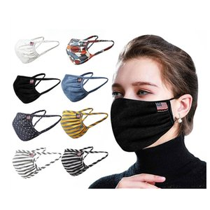 Breathable Cotton Dustproof Face Mask for Men Women Outdoor Sunblock Striped Washable Reusable Protective Masks DHL Fast Shipping