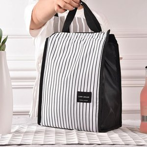 Black White Stripes Portable Thermal Lunch Bags for Women Kids Men Picnic Cooler Box Insulated Tote Bag Storage Container