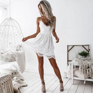 Famale Designer roupa das senhoras Alças Fishtail vestido de verão Sexy Lace V Neck vestido sem mangas Backless Cami