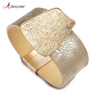 Amorcome 2020 New Charm Gold Genuine Leather Bracelet for Women Femme Fashion Metal Wide Bracelets & Bangles Jewelry Gift