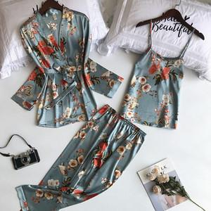 Daeyard 3 Stück Seide Pyjama Set Print Nachtwäsche Pijama Startseite Anzug Frauen reizvolle Wäsche-Pyjama Bride Robe Satin Kimono Floral Robe T200612