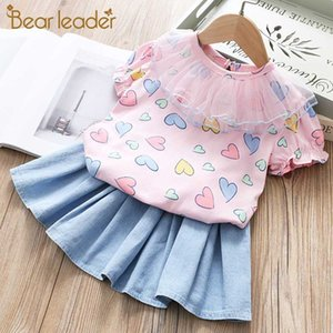 Bear Leader Kids Girl Clothes Sets New Summer Kid Lovely Heart Pattern Baby Clothing Toddler Top Nesh T-shirt and Skirt Suits