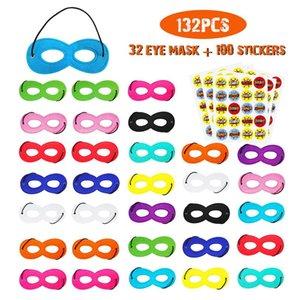 Halloween Mask bebê Felt Máscara Eye Set 100 Adesivos Crianças festa de aniversário do super-herói Meia cara Masquerade Decoração