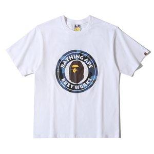 Nueva streetwear Hombres bordado simios cabeza unas camisas baño camiseta mono color sólido jersey de algodón corto 19BAPE vetements para el verano