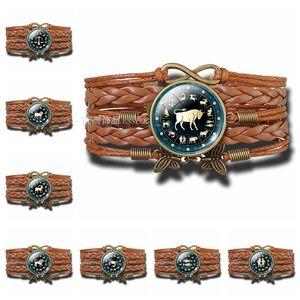 12 Constellation Leather Woven Bracelet Sagittarius Taurus Leo Zodiac Ancient Code Round Multi-layer Woven Leather Bracelet