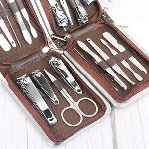 Manucure en acier inoxydable Set Professional coupe-ongles Ciseaux outil portable Ongle Clipper Boîtes en cuir Kits Set 9 pièces / Set VT1393