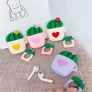 For Airpods 2 Cases Apple Wireless Accessories 3D Cute Cactus Plant Potted Earphone Bluetooth Headset Airpods Silicone Cover