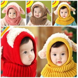 Bebê inverno quente Beanie Chapéus Pet quatro formas Malha Crianças Meninos Meninas bonito da festa de Moda Scarf Cap Com Chapéu Hot Sale12 5BH E1