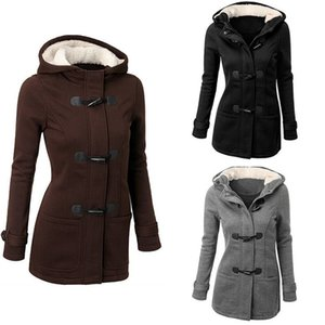 Ladies Autumn Winter Thick Cotton Coat Solid Hooded Full Sleeve Horn Button Causal Streetwear Women Fashion Jacket Veste Femme