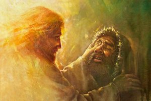 xa034 # Yongsung Kim guarisce il cieco uomo Cristo Gesù guarisce l'uomo Home Decor HD Dipinti Stampa Olio Su Tela Wall Art Immagini 200.108