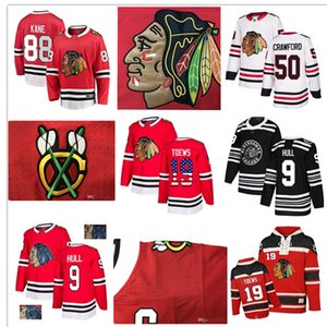 Custom Chicago Blackhawks Jersey 88 Patrick Kane 9 Bobby Hull 19 Jonathan Toews 50 Crawford12 DeBrincat 64 Keith USA Flag hockey jerseys