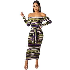 Automne Womens Designer Striped Dress Sexy Femmes Slash Neck Robes Casual Ladies Bodycon Dress