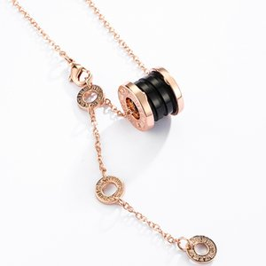 European and American brand new luxury designer Roman numerals arc ceramic spring necklace suitable for women wedding jewelry