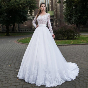 Sheer Long Sleeves Lace Appliques Wedding Dresses Bridal Gowns Modest 2020 With Buttons Back Custom Made Robe De Marriage Spring Garden
