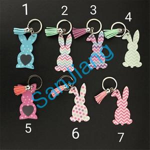 Симпатичный мультфильм кролик кисточкой Брелки акриловой Easter Bunny цепи ключевой кольцо Женщина Девочка Сумка Подвеска Dots Кролик брелок подарок продажа E3902