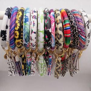 43styles Leopard Leather Bracelet Key Chain PU Wrist Round Tassel Pendant Wristbands Sports floral Keychain Bracelets Key Rings LJJA3603-6