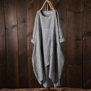 Yaz Elbise Moda Kadınlar Plus Size Gevşek Tam Kol Ekose Uzun Elbiseler 2019 Günlük Kafes Pamuk ve Keten Kolay Maxi Elbise