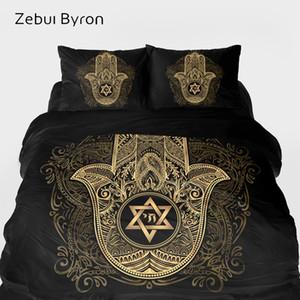3D yatak Seti, Yatak Kral / Kraliçe / Özel, nevresim David Battaniye / Nevresim Set Siyah altın Hamsa el yıldızı set setleri