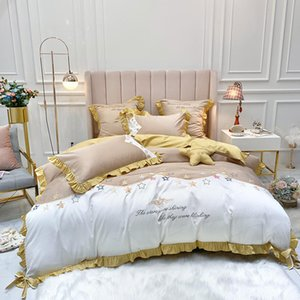Starry Sky Bedding Set Embroidery Duvet cover set Long-staple cotton Pillowcases Queen King Size Bed Bed Linen 4pcs 2020 new
