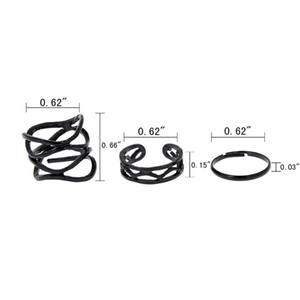 Bonito Anéis Midi Conjunto 3 Pcs Multicamadas Oco Cruz Midi Dedo Dica Anéis De Casamento Conjunto Pilha Simples Acima Da Junta Belamente Preto Anéis Punk