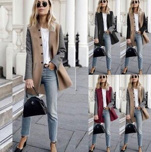 New Women Winter Outwear Coats Lady Tweed Color-blocking Single Breasted Button Long Sleeve Jacket Long Trench Coat with Double Pockets