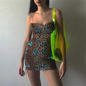Летнее платье Женщины Спагетти ремень рукавов Sexy Leopard печати бабочка печати Bodycon Dresss платье партии Vestidos Robe