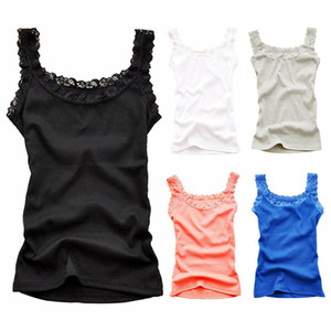 Womens Cotton Camisoles Lace Ladies Summer Sexy Fashion Camisole Crop Top Sleeveless T-Shirt Tank Female Satin Soft Sling Vest