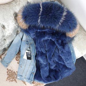OFTBUY 2020 jaqueta de inverno Brasão das mulheres reais Fur Parka real guaxinim colarinho Rex Coelho forro bombardeiro listrado Denim jacket Streetwear