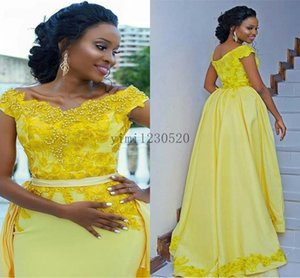 Yellow Mermaid Prom Dresses With Detachable Train Off Shoulder Sweep Train Appliques Beads Women Long Formal Evening Party Gowns Plus Size