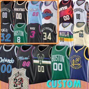 Bucks Miami New Orleans calor Pelicanos personalizado Basketball Jersey Boston Orlando Magic Celtic Milwaukee Brooklyn Nets Atlanta Atlanta Ouro P