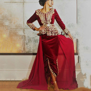 Burgundy Caftan manga comprida Vestidos Formais 2020 Velvet Gold Lace Peplum formal do partido Prom Vestido Especial Ocasião Vestidos