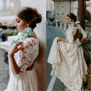 2019 Lindo Bohemian Lace Open Back Vestido de noiva com mangas 3/4 Vintage Boho Beach Wedding Dresses Country Plus Size vestido de noiva