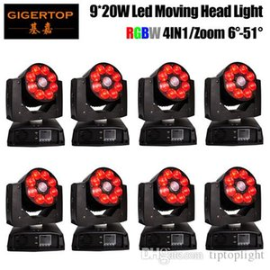 Gigertop 8 Einheiten 9x20W ZOOM Wash LED Moving Head Licht RGBW 4in1 LED Moving Head Washer