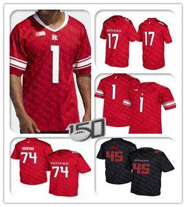 사용자 정의 2019 Men Rutgers Scarlet Knights Jersey Football Isaih Pacheco Raheem Blackshear Drew Singleton Bo Melton Zach Venesky Melton Black