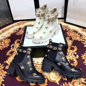 Işlemeli Deri Dantel ayak bileği çizmeler Avrupa dermal dantel yıldız kalın topuk ile işlemeli inci dantel kısa çizmeler su geçirmez masa