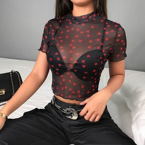 Hot Mesh coeur T-shirts à col roulé Hauts femmes Transparent 2020 See Through Crop Black White élastique Skinny Tops Stretchy Nouveau