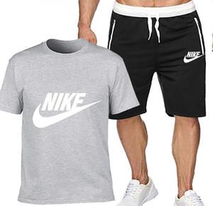 Modische Sommer heißen Verkauf der Männer Anzug T-Shirt + kurze Hosen zweiteilige Freizeit-Sportklage neuer Freizeit der Männer T-Shirt Gym Fitness-Anzug