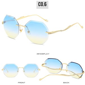 Frameless sunglasse Compre Cat Eye Sunglasses Moda Frameless Sunglasses Europa E Os Estados Unidos Trend Street Shooting culos De Sol 3fc5D
