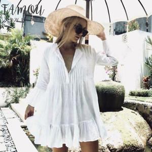 2020 Camicia di copertura del bikini NUOVE donne bianco a maniche lunghe Sweet Holiday Ruffles Fino bagno dello Swimwear della spiaggia di estate camicetta allentata Dress