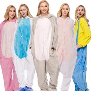 animais kaguster Pajama dos desenhos animados Adulto uma peça pijama homens mulheres inverno casal de modelos de flanela do arco-íris estrelas pijamas set