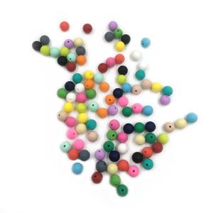 Silicone dentizione Beads Teether del bambino 15 millimetri Safe Food Grade Cura Chew braccialetto dentaruolo silicone borda la collana silicone rotonda