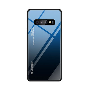 For Samsung S10 S10E S10 Plus S10 5G Gradient Color Anti-scratch Tempered Glass+TPU cellphone case free shipping