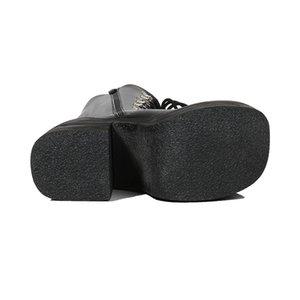 16cm Topuk Motosiklet Boots Siyah Diz Yüksek Boots Punk Cosplay Moda Goth takozları Platformu Yüksek Topuklar Kadın Ayakkabı