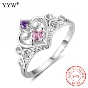 One peice women 925 Sterling Silver Finger Rings Heart with cubic zirconia 10.5mm* 3.5mm *2mm fashion jewelry 2018 new