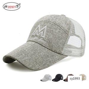 men's casual all-match lengthened brim baseball outdoor sun Hat sunscreen linen breathable mesh cap