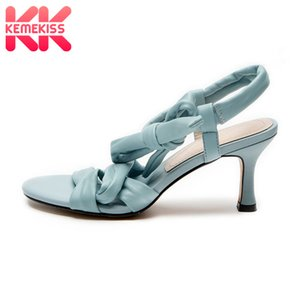 KemeKiss Genuine Leather Sandals Open Toe Thin Heel Bownot High Quality Lace Up Summer Party Sandals Ladies Footwear Size 34-39