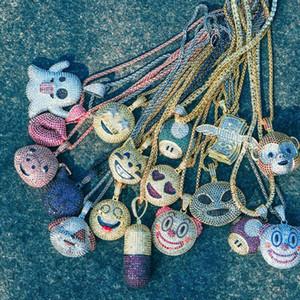 14 Karat Gold vereiste Tier-Emoji-Anhänger Halskette Kirsche Eis Clown rote Lippen abnehmbare Pille Emoji Geld Tasche lila Teufel Emoji Halskette