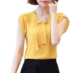 Femmes manches courtes en mousseline de soie shirt bureau dames O cou mince Blouses Chemises
